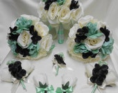 Wedding Silk Flower Bridal Bouquet 18 pieces Package Ivory Mint Rose Black Bride Bridesmaid Boutonniere Corsages FREE SHIPPING