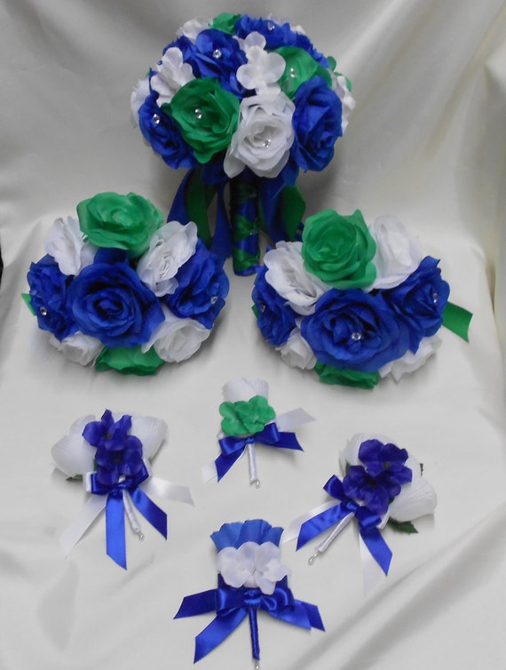 Silk Flower Wedding Bridal Bouquets Royal Blue Emerald Green