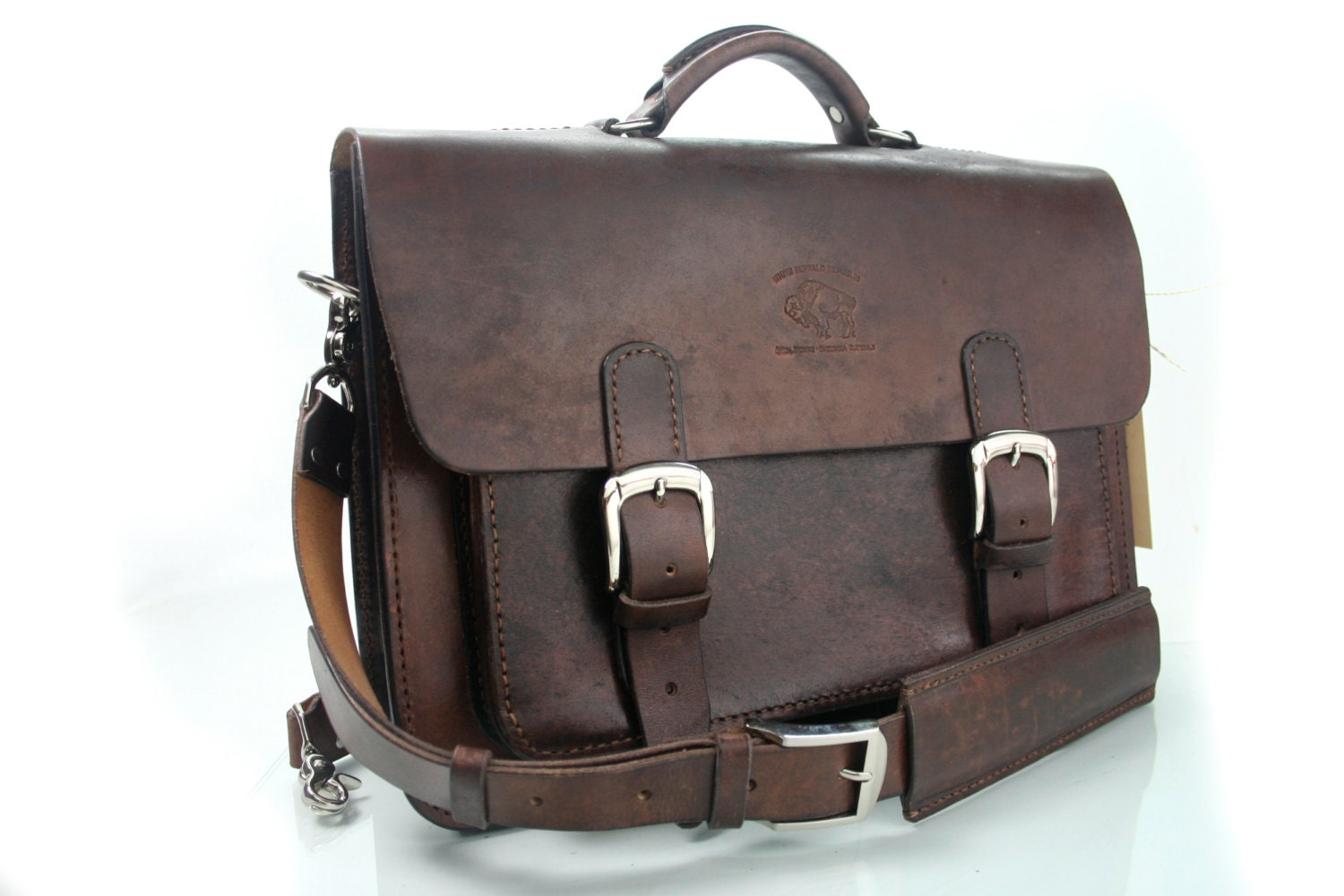 rustic distressed leather messenger bag by