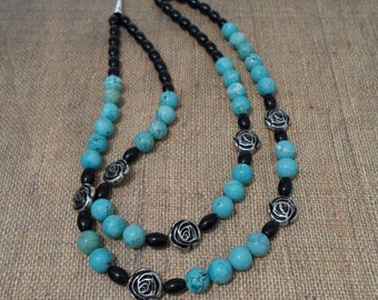 Two strand turquoise and black 23 inch magnasite necklace// turquoise dyed magnasite// black beads// multi strand//southwestern/ item TQP200