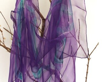 Silk chiffon scarf handpainted. green and violet. Silk shawl . gift for her.180x45cm.