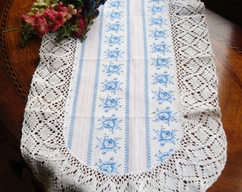 Centerpiece doily; small table runner, small dresser runner, vintage hand crochted edging, cottage chic, French country decor, babys room