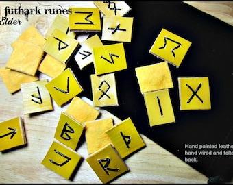 Handmade Elder Futhark Runes Leather Runes OOAK