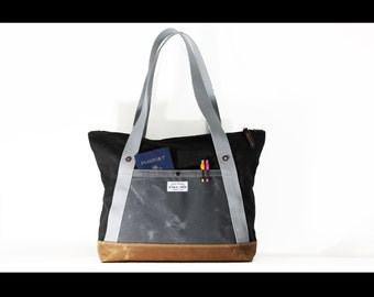 Waxed Canvas Zippered tote bag - made in USA - carry all - handmade - ZTB002
