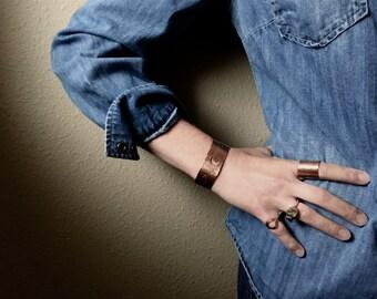 hand stamped celestial bracelet // boho copper cuff