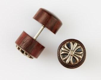 """Fake Gauge Earrings-Fake Plugs-Organic Wood Earrings,Chrome Brass Fake Gauges - Handmade Tribal Earrings-""""Chromed Brass Fleur-de-Lis""""-Boho"""