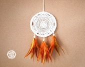 Dream Catcher - Sunshine - With White Handmade Crochet Web and Orange-Yellow Feathers - Mobile, Home Decor, Decoration