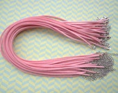 20pcs 3mm 16-18inch adjustable pink suede leather necklace cord with white k lobster clasp