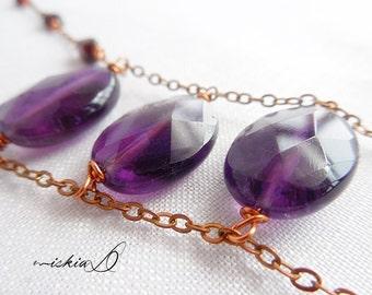 Amethyst Pendant Necklace, Long Amethyst Necklace, Tribal Style Necklace, Purple Pendant Necklace.
