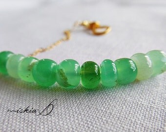 Green Bracelet, Natural Chrysoprase Bracelet, with Gold Filled Chain, Simple gemstone Bracelet