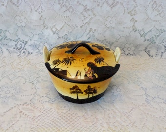 Czech Pottery Covered Dish Egyptian Scene Erphila Art Pottery  Sphinx Sunset Palm Trees Hand Painted