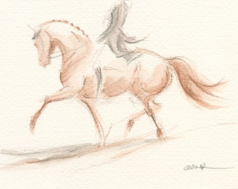 "Horse Art, Painting, Dressage, Original Watercolor by Anna Noelle Rockwell, ""Change of Direction"""