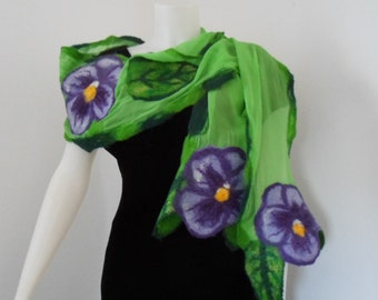 Pansy Nuno Felted Scarf in Spring Green