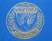 Vintage 1980s Blue Soroptomist Volunteer Organization T Shirt L by Screen Stars Best