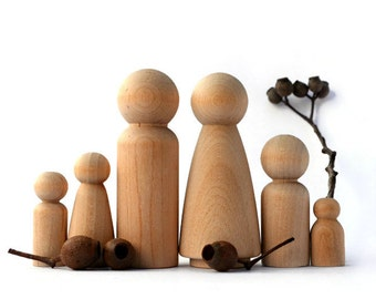 Wooden PEG DOLLS - Large 6 piece Family. Perfect for a Dollhouse! Wedding cake topper Wooden Rustic cake topper Natural Pegdolls Australia