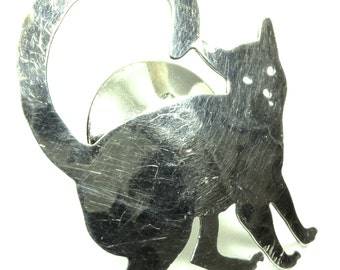 Darling Sterling Silver Cat Tie Tac Lapel Pin 925 Kitty Cat
