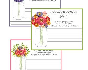 Bridal Shower Advice cards - Mason Jar and floral designs - set of 12