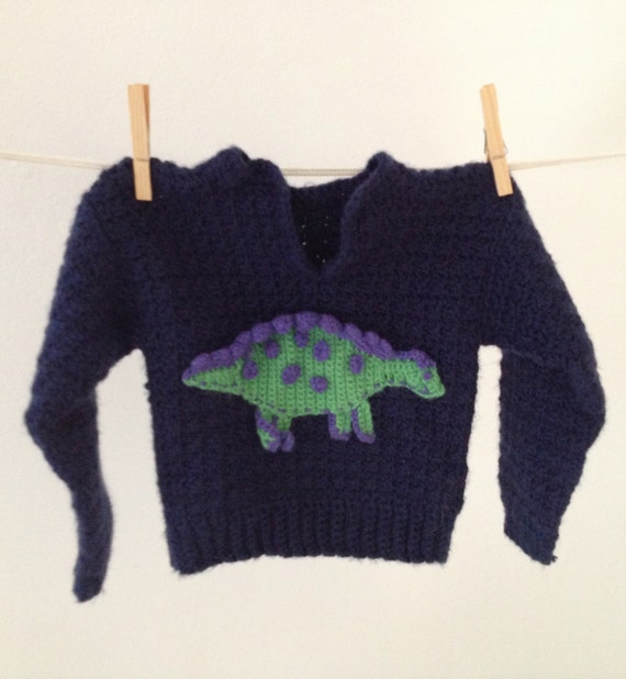 Vintage Hand Knit Dinosaur Sweater for Baby or Toddler