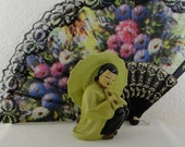 Mid Century Chalkware Figure Asian Women with Umbrella