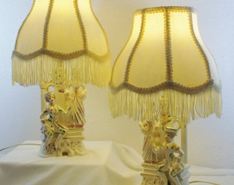 Pair of Victorian Porcelain Lamps with Shades Handpainted