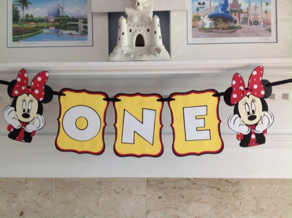 Polka Dot Minnie Mickey Mouse ONE Birthday Disney Smash Cake Banner by ...