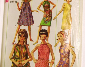 Vintage Pattern 1966 Simplicity Miss One-Piece Summer Dress Pattern Sz 10