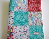 Minky Patchwork Baby Girl Blanket Quilt Valori Wells In the Bloom Flowers Birds--Ready to Ship