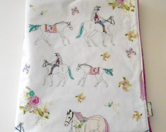 Minky Baby Toddler Girl Blanket Princess Horses Flowers 38 x 50 inches Anna Elise Encolureful Pretty Choice of Minky-Made to Order