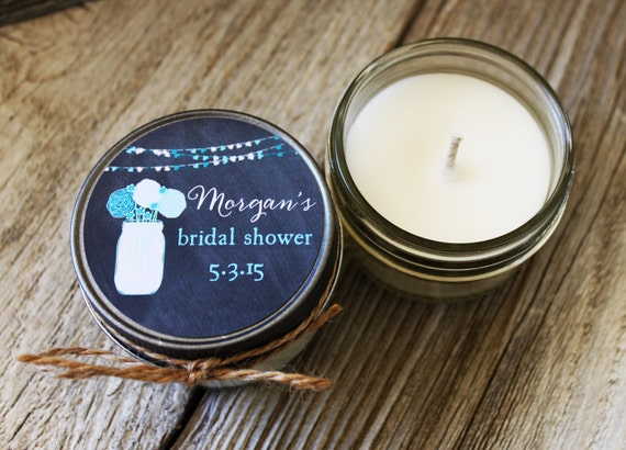 Set of 12 - 4 oz Candle Wedding Favor - Soy - Bridal Shower Favors // Chalkboard Mason Jar Sting of Lights // Mason Jar Bridal Shower Favors
