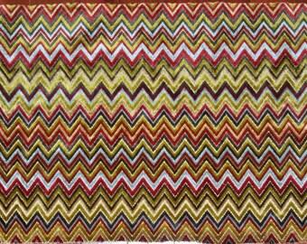 DESIGNER Flamestitch Chevron Zig Zag Velvet Fabric Remnant Gold Burgundy Brown Multi