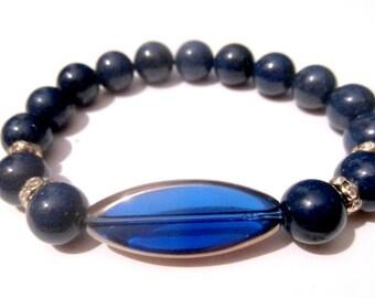 Lapis Bead Bracelet - Boho Bracelet - Crystal Charm Bracelet - Bead Bracelet - Beaded Jewelry