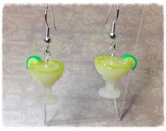 Miniature Margarita Food Jewelry - Polymer Clay Earrings Surgigal Steel Gloss Finish - SE40