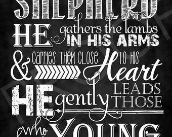 Scripture Art - Isaiah 40:11 ~ Chalkboard Style
