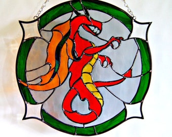 Stained Glass Dragon Red Dragon Mythological Creature Fantasy Art Medieval Art Geekery Red Serpent