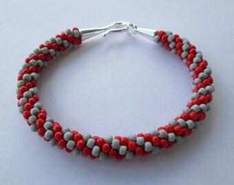 Ohio State Bracelet, Ohio State Jewelry, Ohio State, Ohio State Buckeyes, Ohio State University, OSU Buckeyes, Buckeye Beads, Rope Bracelet