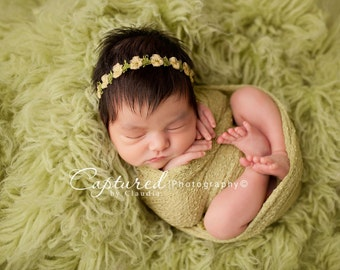 Yellow Spring Headband, Newborn Photo Prop, Baby Girl Flower Headband, Delicate Organza Headband
