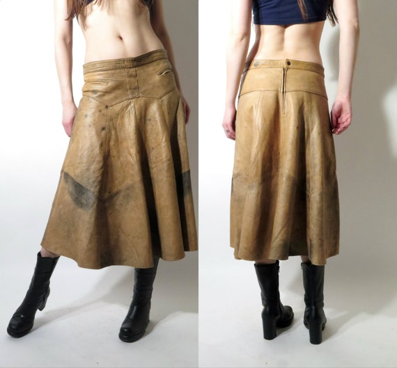 vintage brown soft leather skirt