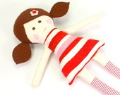 Handmade Rag Doll -- Eco-Friendly Fabric Doll -- Camille Doll with Brown Felt Pigtails & Red and White Stripe Batik Dress with Ribbon Decor