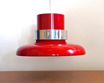 Lightolier Red and Chrome Vented Pendant