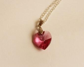 Swarovski Heart Pendant Necklace - Pink