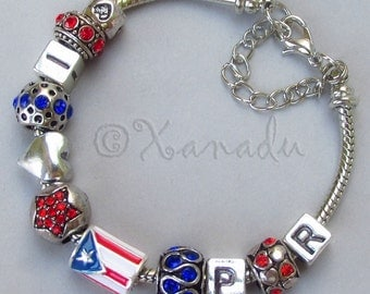 Puerto Rico European Charm Bracelet With Puerto Rican Flag And I Love PR Beads - Small Girl, Child, Kid, Children Sizes Available