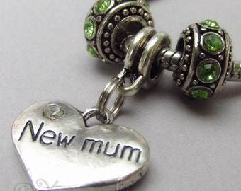 New Mum Charm Pendant And Birthstone Beads For Large Hole Charm Bracelets - Gift Idea For New Moms