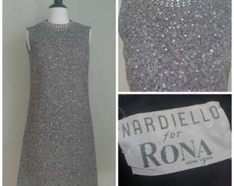Vintage 1960's Embellished Tweed Shift// Rhinestone// Nardiello by Rona