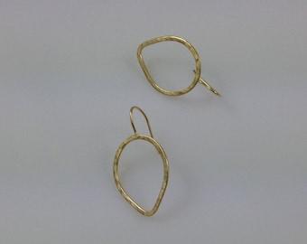 Gold Drops Earring, Dainty Earrings, Gold Hammered Drop Earrings, Gold Teardrop  Earrings, Jewelry Handmade