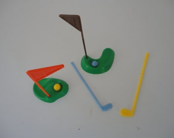 Vintage Cake Picks Golf Cake Topper The Greens and Flags Golf Sticks and Golf Balls Made in Hong Kong Golf Party Golf Player