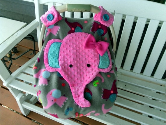 Girls Appliqued Elephant Car Seat Canopy With Peek A Boo