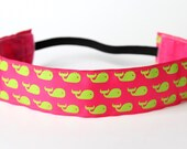 """Pink & Lime Green Whale NonSlip Headband 1.5"""", Fitness Apparel, Running Headband, Workout Accessory, Spinning Headband, Southern Prep"""