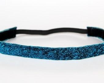 """Turquoise Sparkle Non-Slip Headband 3/4"""" - NonSlip Headband, NoSlip Headband, Mother's Day Gift, Running, Dance, Glitter, Exercise, Fitness"""