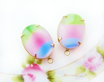 Vintage Pastel Rainbow Moonstone 18x13mm Oval Stones Pink Blue Green in Brass, Matte Black or Antique Silver Pendant Settings - 2