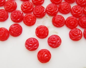 Vintage Opaque Cherry Red Rose Flower Glass Cabochons Flat Back Stones 7mm Round - 6